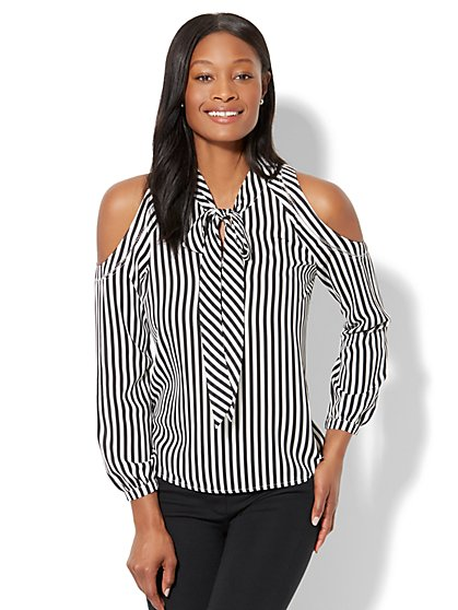 7th Avenue - Cold-Shoulder Bow-Accent Blouse - Stripe - New York & Company