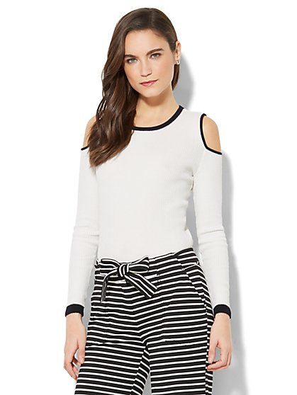 7th Avenue - Cold-Shoulder Piped Sweater - New York & Company