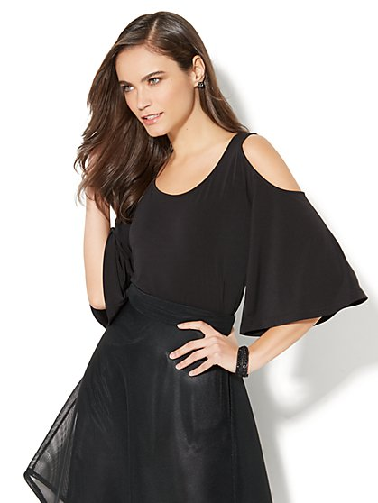 7th Avenue - Cold-Shoulder Scoopneck Top - New York & Company