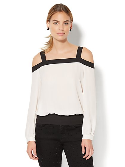 7th Avenue - Colorblock Cold-Shoulder Blouse - New York & Company