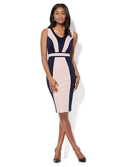 7th Avenue - Colorblock Midi Sheath Dress - Petite - New York & Company