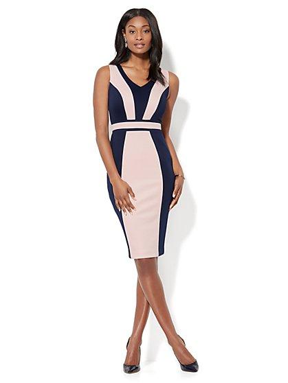7th Avenue - Colorblock Midi Sheath Dress - Tall - New York & Company