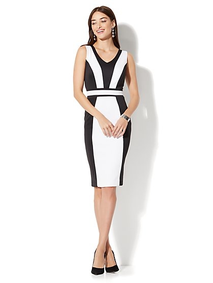 7th Avenue - Colorblock Midi Sheath Dress  - New York & Company