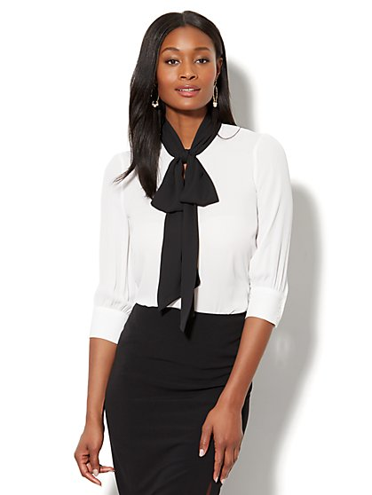 7th Avenue - Colorblock Tie-Accent Blouse - New York & Company
