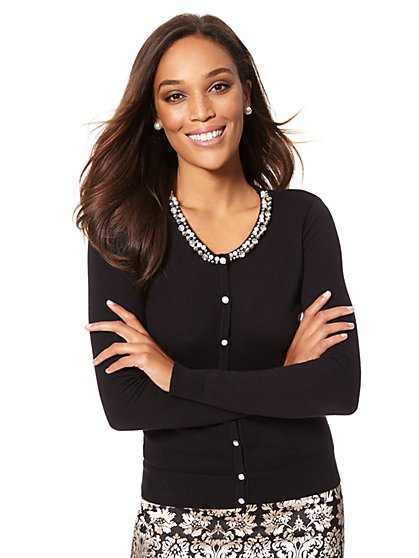 7th Avenue - Crewneck Chelsea Cardigan - Faux-Pearl Trim - New York & Company
