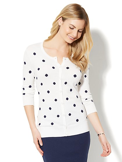 7th Avenue - Crewneck Chelsea Cardigan - Polka-Dot Print - New York & Company