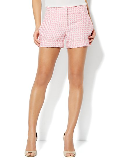 7th Avenue Cuffed Short - Diamond Jacquard