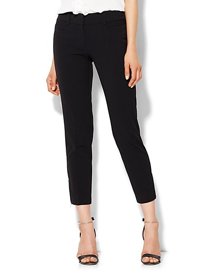 7th Avenue Design Studio Ankle Pant - Zip Accent - Black  - New York & Company
