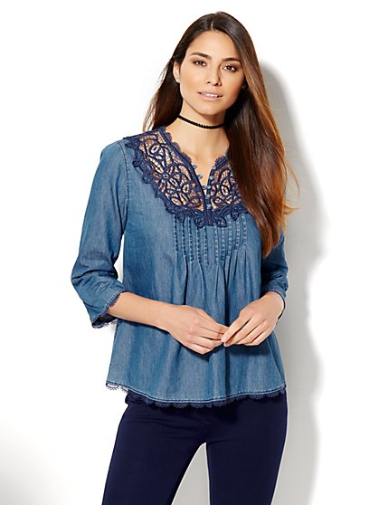 7th Avenue Design Studio - Appliqué Chambray Blouse  - New York & Company