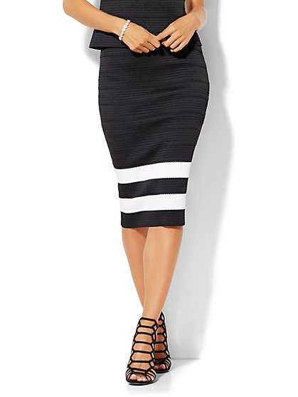 7th Avenue Design Studio - Bandage Pencil Skirt - Black & White Stripe  - New York & Company