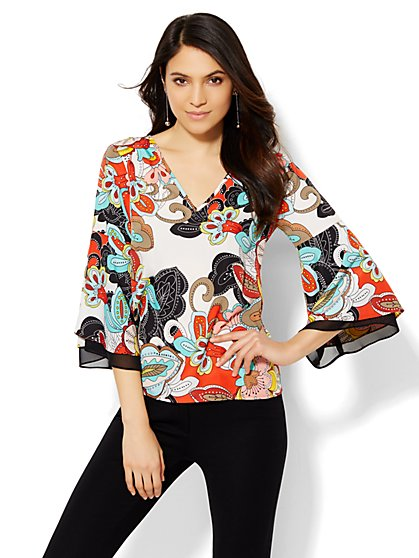 7th Avenue Design Studio - Bell-Sleeve Blouse - Paisley  - New York & Company
