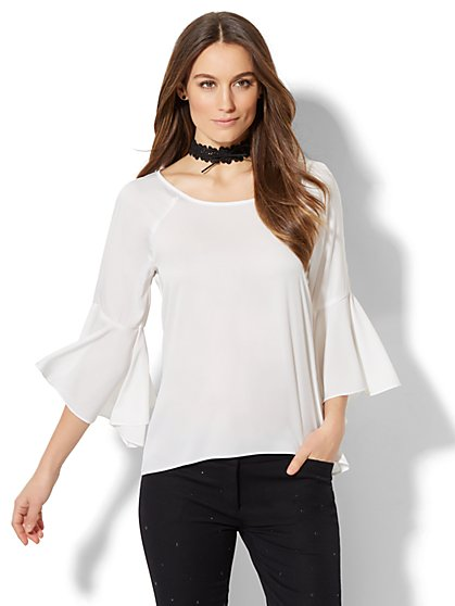 7th Avenue Design Studio - Bell-Sleeve Blouse - White - New York & Company