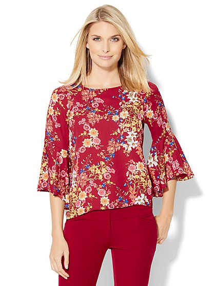 7th Avenue Design Studio - Bell-Sleeve Keyhole Blouse - Floral  - New York & Company