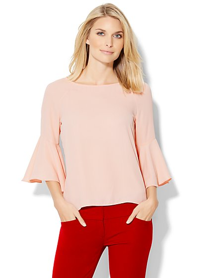 7th Avenue Design Studio - Bell-Sleeve Keyhole Blouse  - New York & Company