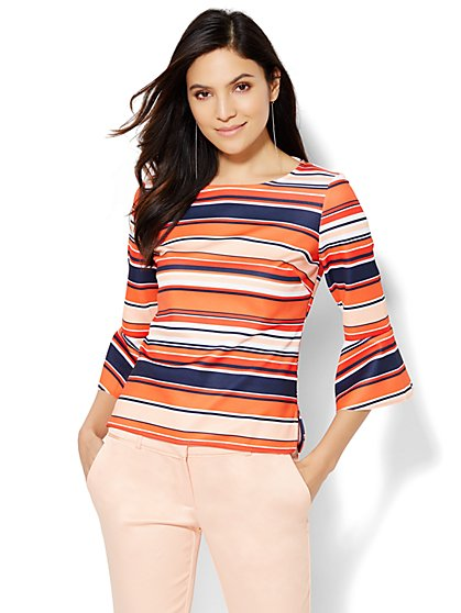 7th Avenue Design Studio Bell-Sleeve Top - Stripe  - New York & Company