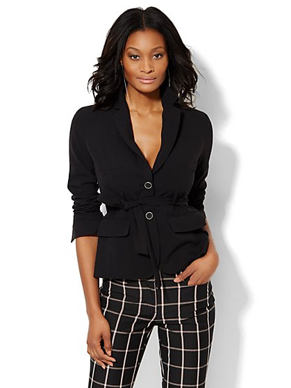 7th Avenue Design Studio Belted Jacket - Modern Fit - Double Stretch - New York & Company