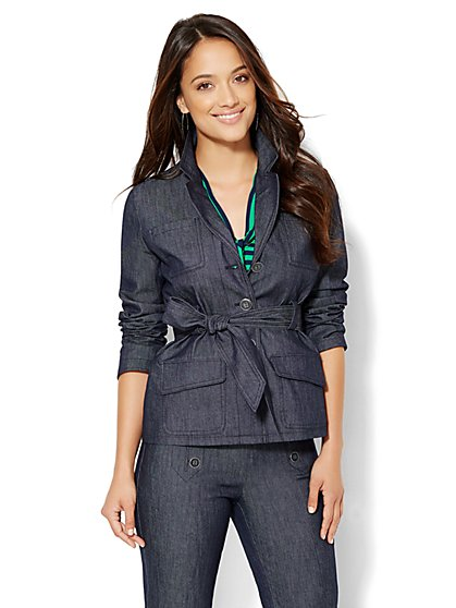 7th Avenue Design Studio Belted Jacket - Modern Fit - Grand Sapphire  - New York & Company