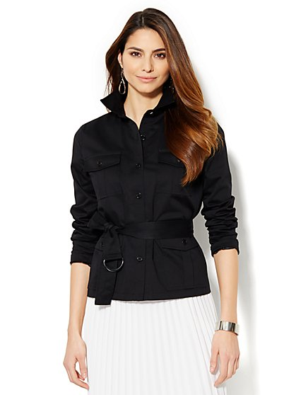 7th Avenue Design Studio Belted Jacket - Modern Fit - Solid - New York & Company
