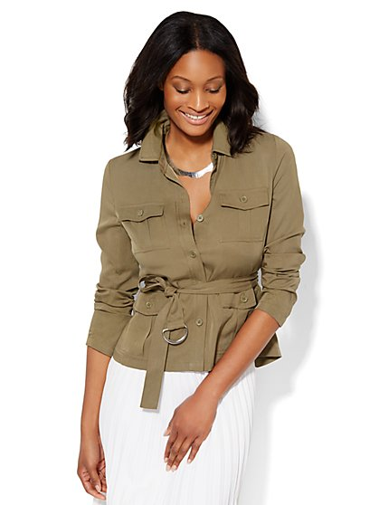 7th Avenue Design Studio Belted Jacket - Modern Fit - New York & Company