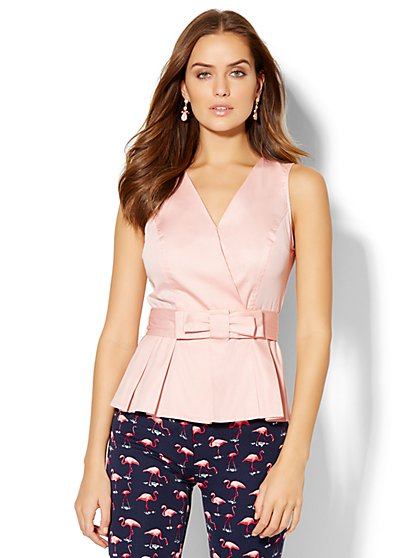 7th Avenue Design Studio - Belted Peplum Shirt  - New York & Company