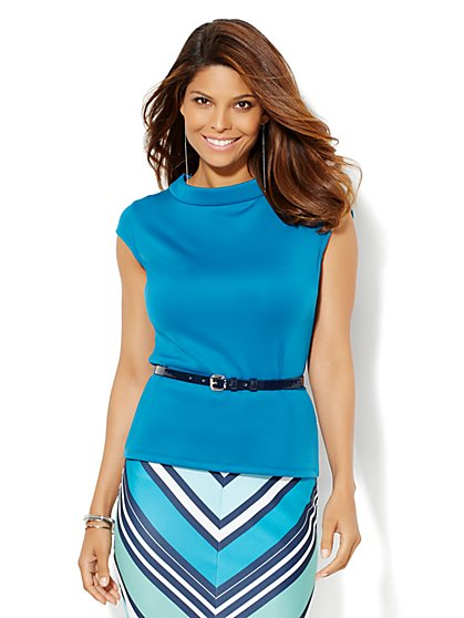 7th Avenue Design Studio - Belted Scuba Top  - New York & Company