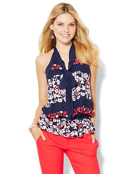 7th Avenue Design Studio - Bow Halter Blouse - Floral  - New York & Company