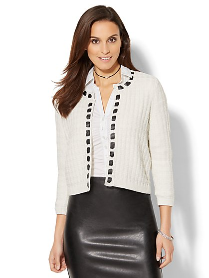 7th Avenue Design Studio - Braided Faux-Leather Lurex Cardigan - New York & Company