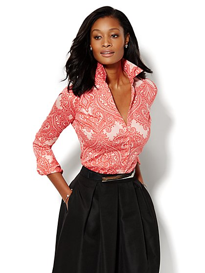 7th Avenue Design Studio - Button-Front Shirt - Paisley  - New York & Company