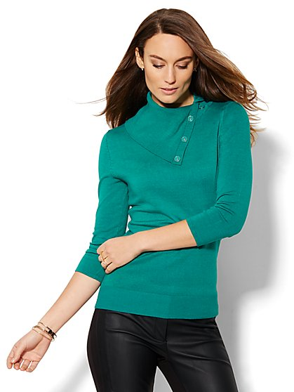 7th Avenue Design Studio - Button Neck Pullover - Solid  - New York & Company