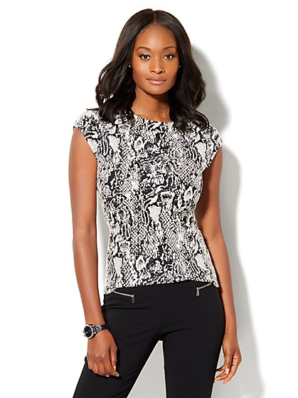 7th Avenue Design Studio - Cap-Sleeve Top - Black   - New York & Company