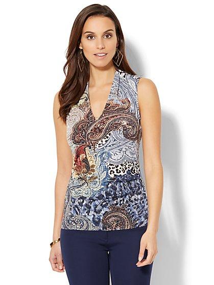 7th Avenue Design Studio - Chain-Link Detail Sleeveless Shirred Top - Mixed Print - New York & Company