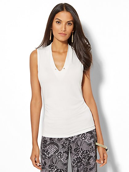 7th Avenue Design Studio - Chain-Link Detail Sleeveless Shirred Top - White - New York & Company
