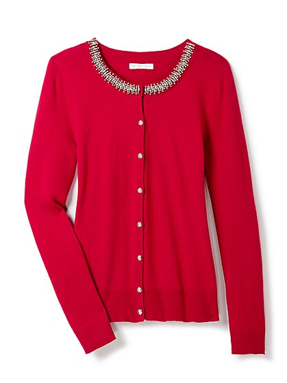 7th Avenue Design Studio - Chelsea Beaded Crewneck Cardigan  - New York & Company