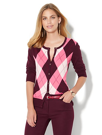 7th Avenue Design Studio - Chelsea Cardigan - Argyle  - New York & Company