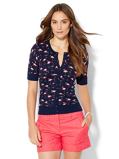 7th Avenue Design Studio Chelsea Cardigan - Flamingo Print  - New York & Company