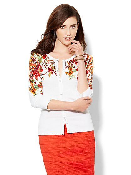 7th Avenue Design Studio - Chelsea Cardigan - Floral  - New York & Company