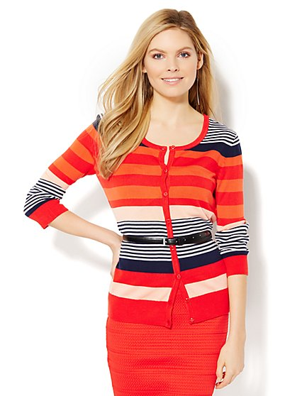 7th Avenue Design Studio -  Chelsea  Cardigan - Stripe  - New York & Company