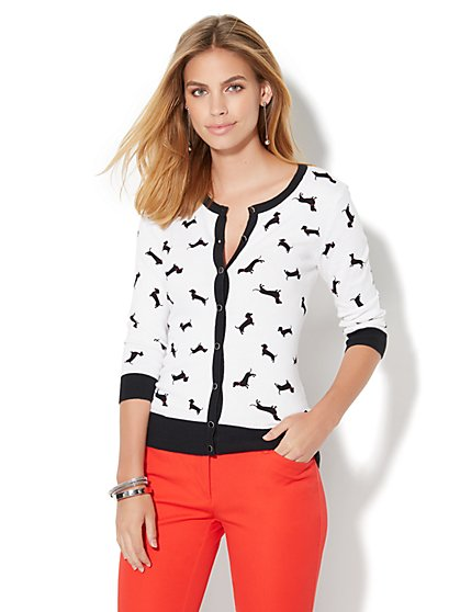 7th Avenue Design Studio -  Chelsea Cardigan - White  - New York & Company