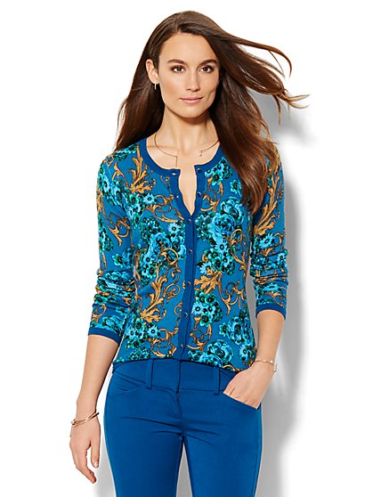 7th Avenue Design Studio - Chelsea Crewneck Cardigan - Floral Print  - New York & Company