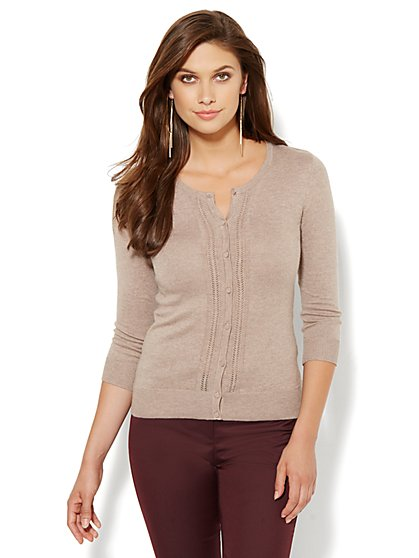 7th Avenue Design Studio - Chelsea Crewneck Pointelle Cardigan  - New York & Company