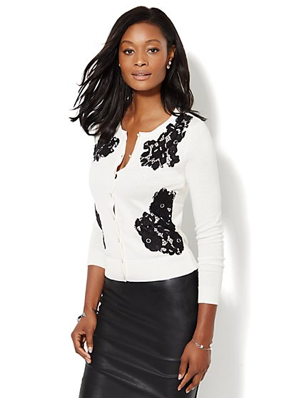 7th Avenue Design Studio - Chelsea Lace-Overlay Cardigan - New York & Company