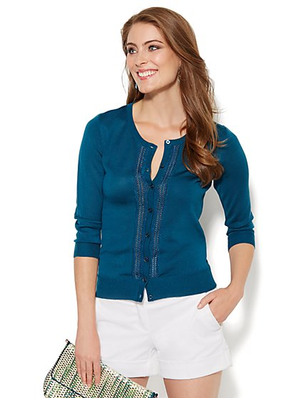 7th Avenue Design Studio - Chelsea Lurex Pointelle-Knit Cardigan  - New York & Company