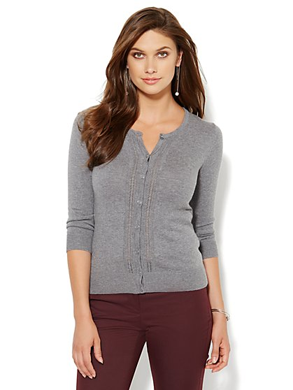 7th Avenue Design Studio - Chelsea Pointelle Cardigan  - New York & Company