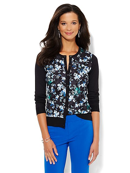 7th Avenue Design Studio - Chelsea Printed Lace-Panel Cardigan  - New York & Company