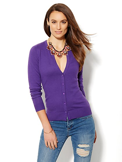 7th Avenue Design Studio - Chelsea Split-Neck Cardigan - Solid  - New York & Company