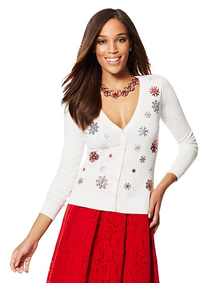7th Avenue Design Studio Chelsea V-Neck Cardigan - Sequin Snowflake - New York & Company