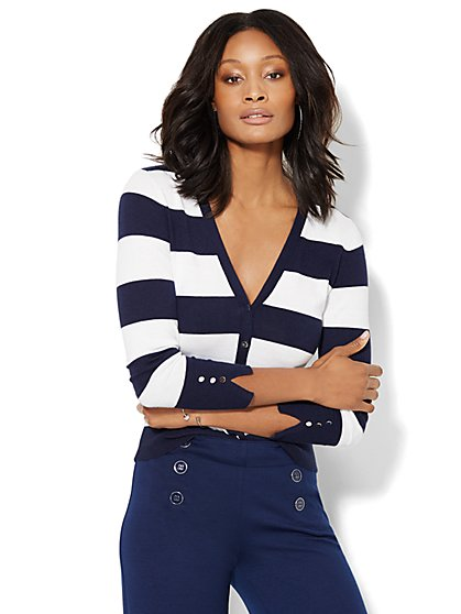 7th Avenue Design Studio - Chelsea V-Neck Cardigan - Striped  - New York & Company