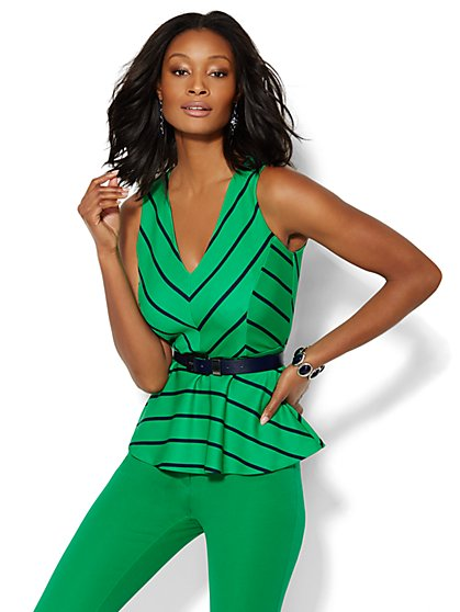7th Avenue Design Studio - Chevron-Stripe Peplum Top - New York & Company