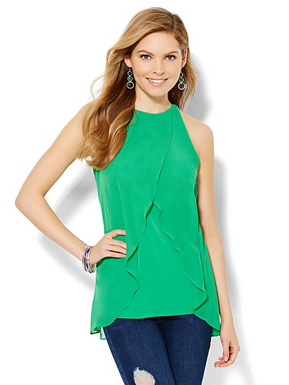 7th Avenue Design Studio - Chiffon Cross-Front Top  - New York & Company