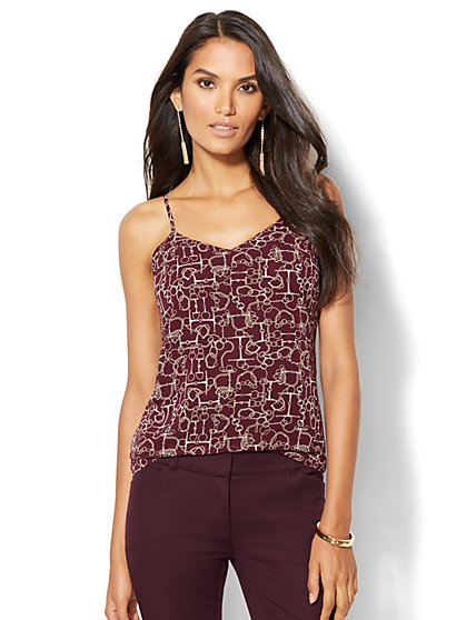 7th Avenue Design Studio - Chiffon-Overlay Camisole - Print  - New York & Company